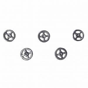 Dinky 38 Series 38a, 38b, 38c, 38d, 38e, 38f, | 5 x Steering wheels White Metal